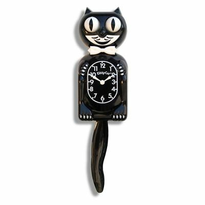 Kit-Cat Clock Black Kitty-Cat Wall Clock Bow Tie Rolling Eyes Wagging Tail 12.75