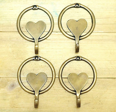 Set of 4 pcs Vintage LOVE Shape Antique Brass Wall Coat Hat HOOK Hanger