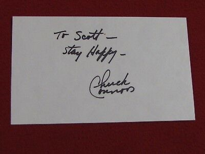 Chuck Conners, The Rifleman, Signed 3 x 5 Card