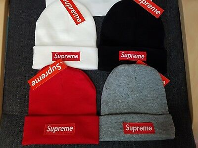 Supreme Beanie Red Black Gray White Classic Logo Fast US Shipping New Sealed