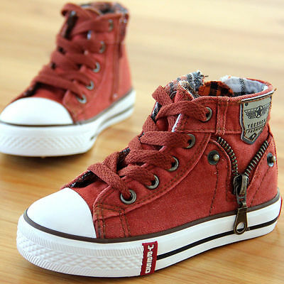 Kids Boys Girls Canvas Shoes Children High Top Comfortable Sneakers Casual Flats