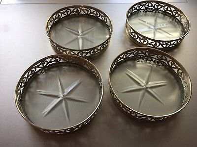 Antique Tiffany & Co Glass And Sterling Silver Coasters Set Of Four