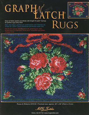 """Graph N Latch Rug Pattern 30"""" x 36"""" Roses & Ribbons Color Graph #37516"""