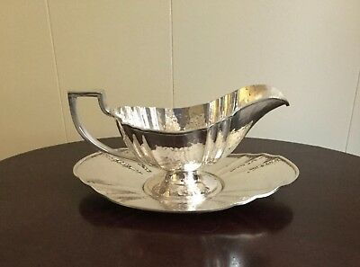 Apollo EPNS Hammered Deco Sauceboat & Tray Pat. 4225 by Bernard Rice's Sons  Inc