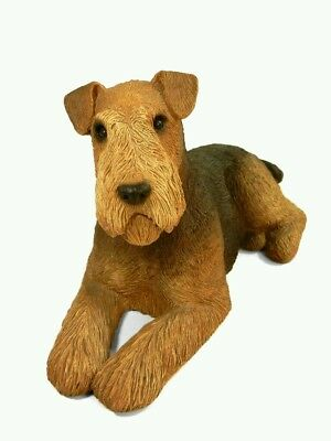 Sandicast Vintage 1988 Laying Airedale Dog Statue Figurine 10in