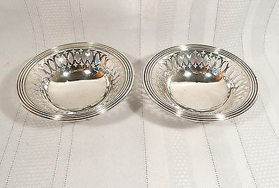 2 Birks STERLING Silver NUT / Candy DISHES Footed Pierced 4 inch  BOWLS 71.2 g.