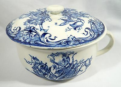 "COLONIAL POTTERY Blue & White CHAMBER POT ""ALBERTA""  Flow Blue  F Winkle Co"