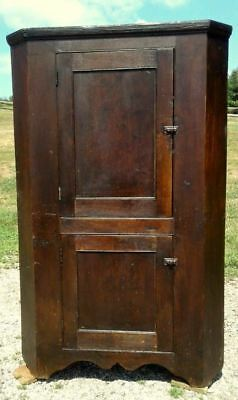 Blind Door Corner Cupboard 1 Piece Walnut Circa 1840 Early Primitive Antique