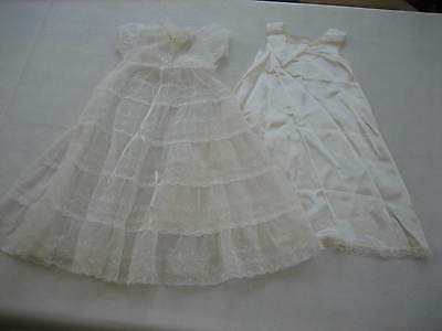 Vintage 1961 MADONNA Long Baby Baptismal / Christening Dress / Gown w Satin Slip