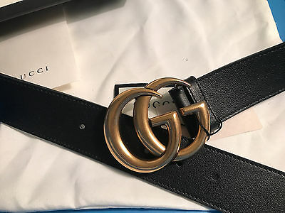 NWT GUCCI LEATHER BELT W/ DOUBLE G BUCKLE 90cm 28-32 waist AUTHENTIC GUCCISSIMA
