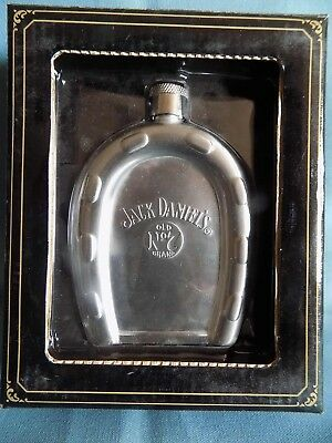 RARE 2004 Jack Daniel's Old No.7 Brand Stainless Steel Flask Horseshoe NIB