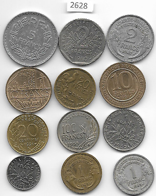 French x 12 Mixed Coins All Differant