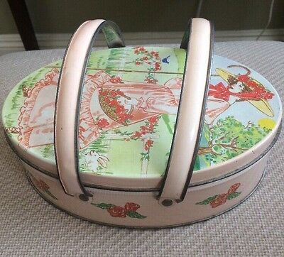 Vintage oval cookie tin Valleybrook Farms Lady Metal Can With Handles