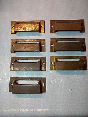 Antique/Vintage Square Style Apothecary Library Drawer Pulls Bin Label lot 7