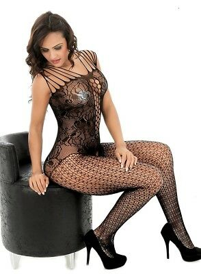 Curbigals Womens Floral Crotchless Body Stocking XSmall - Plus Sizes  Fishnet