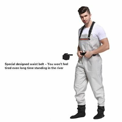 High Quality Mens Breathable Chest Waders Beige Fishing Wader w/ Stocking Foot
