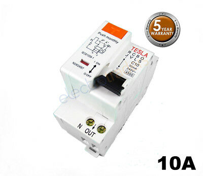 Tesla Safety Switch Circuit Breaker Combination RCBO 10 Amp 4.5kA Rated