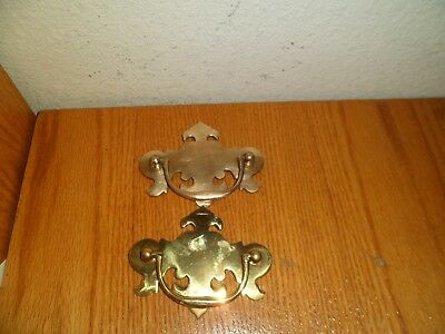 2  Vintage Cast Brass Drawer / Door Pulls