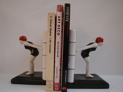 Bookends Figurine Bathing Beauty Sexy Diver Art Deco Style Art Nouveau Style Por
