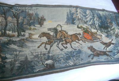 Vintage Woven Tapestry Russian Troika Forest Wolves Scene