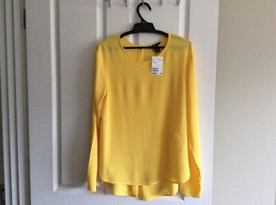 H&m Yellow Womens Size Eur 36 Size 10 Long Sleeve Chiffon Blouse Shirt Bnwt
