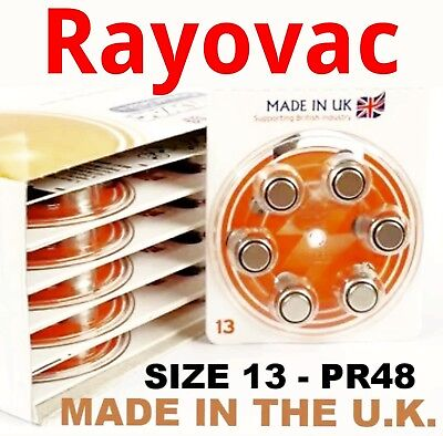 PRICE CUT 60 x Rayovac Crystal Clear Plus Hearing Aid Batteries Size 13 pr48 A13
