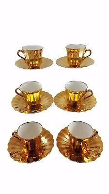 6 Wade Gilt Cup and Saucers Duo