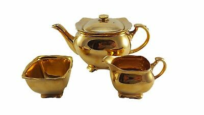 Royal Winton Gilt Teapot With Sugar and Creamer