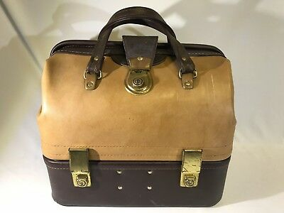 Vintage Harris Leather Goods Brown Lawn Bowls Bag Vinyl And Leather