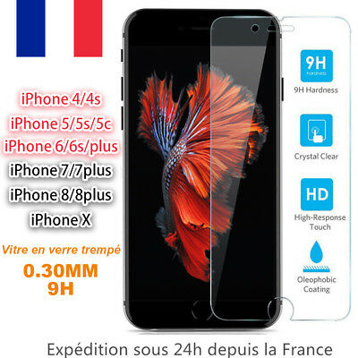 Vitre protection Verre trempé Film protege d'écran iPhone SE/5/6/6S/7/8 Plus/ X