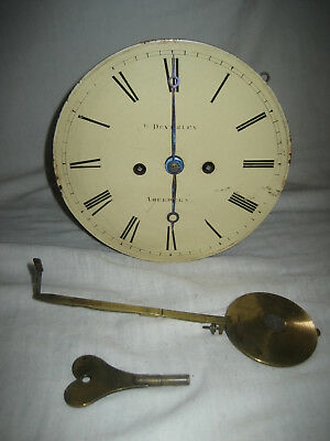 Antique Scottish Fusee Wall Clock Works, Pendulum + Key. H. Deverley Aberdeen.