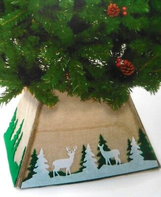 Christmas Tree Skirt - Light Brown Fabric - 50cm x 32cm approx - Reindeer/Trees