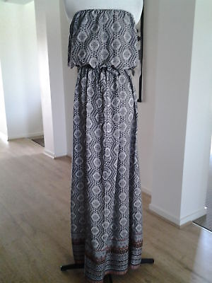 Ladies New Look Strapless Border Print Maxi Dress Size 18