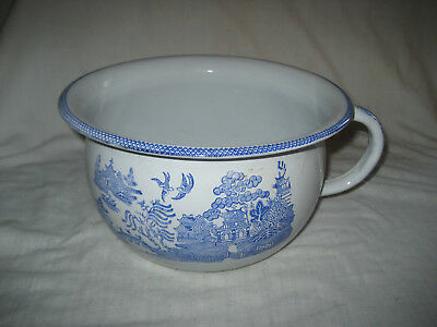 Vintage Blue & White Enamelled Steel Chamber Pot, Chinese Decoration.