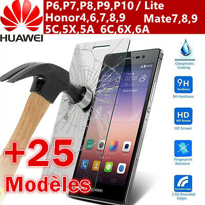 Film Vitre Protection Ecran Verre Trempé HUAWEI P10/P8/9 Honor8/9 6X/C/7X Mate10