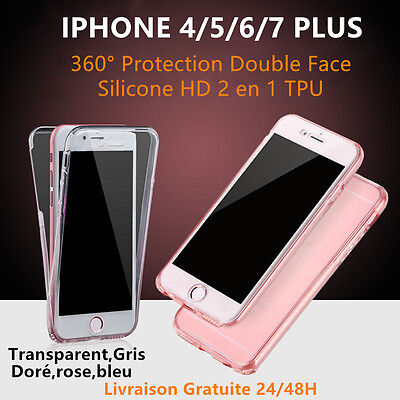 COQUE ETUI HOUSSE 360° SILICONE PROTECTION INTEGRALE IPHONE 8/X/ 7/Plus 6/6S 5S