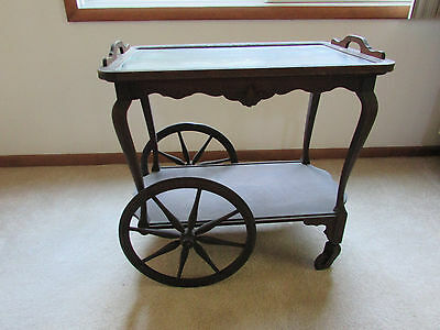Wooden Tea Cart with Removable Glass Serving Tray