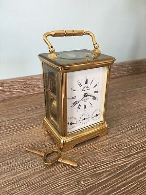 L'epee French Grande Corniche Striking Alarm Repeater 8 Day Carriage Clock