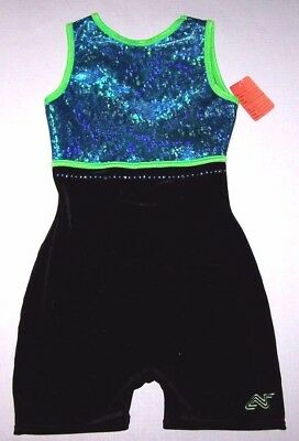 Nwt New Alpha Factor Biketard Tank Hologram Black Velvet Teal Green Adult AS S