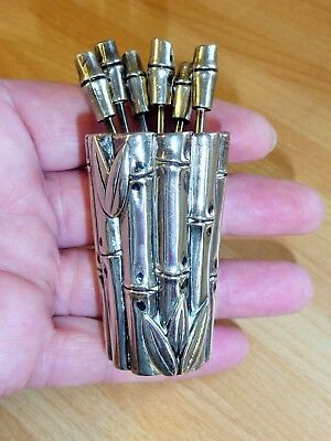Vintage Silver Plated Chinese Japanese Bamboo Holder Cup Cocktail Stick Pick Set