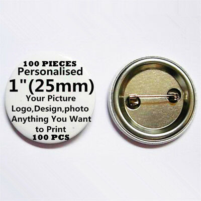 "100 Custom Personalised COMIC Pin Back Button Badge pinback 1"" 25mm Metal Back B"