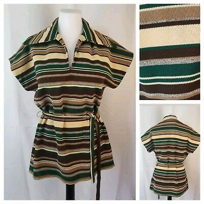 Vintage L Belted Cap Sleeve Tunic Long Collar Polyester Green Brown Beige Stripe