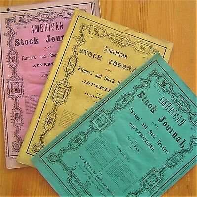 1867-68 Livestock Sales Parkesburg Chester County PA 3 Stock Breeder XLNT VTG