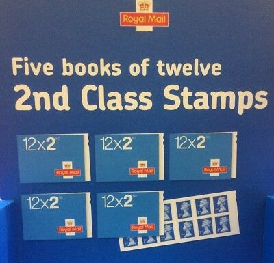 NEW Royal Mail 2nd Class Small Stamps - 5 Books of 12 - 100% Genuine