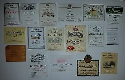 17 different wine labels French & Australian all soaked off bottles