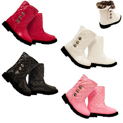 Girls Infant Babies Children Winter Ankle Patent Casual Boots Shoe Size