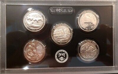 2017 S America the Beautiful 5 Coins Enhanced Uncirculated FROM ANNIVERSARY SET