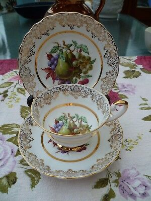 Lovely Vintage English China Trio Newtown Tea Cup Saucer Plate Fruit Gilded
