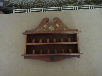 Vintage retro Mahogany Wooden Collectors 12 Thimble Display Case