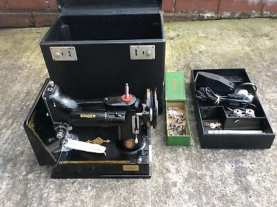 Vintage Singer 221K Centenary Sewing Machine Complete with Box- Needs a Service